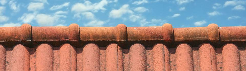 rode dakpannen en blauwe lucht
